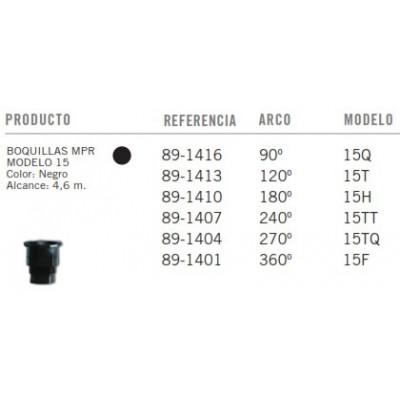 Boquillas TORO MPR - Modelo 15 - Negro - Tabla
