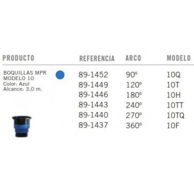 Boquillas TORO MPR - Modelo 10 - Azul - Tabla
