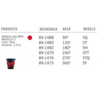 Bicos TORO MPR - Modelo 5 - Vermelho - Tabela