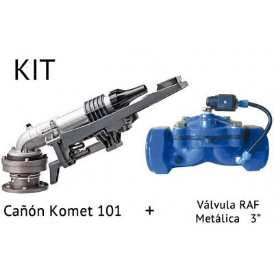 "Kit de Cañón de riego KOMET 101 + Válvula Metálica RAF de 3"""