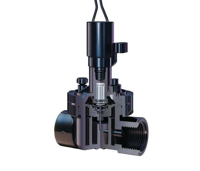 Válvula TORO eléctrica EZ-PLO Plus fabricada en PVC, nylon reforzado con fibra de vidrio y acero inoxidable
