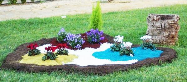 Jardín con compostgreen de colores